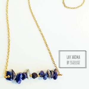 Handcrafted aromatherapy Quartz and lava necklace